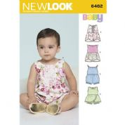 6462 New Look Pattern: Babies' Playsuits with Trim Variations